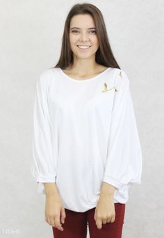 TUNIC white with gold birds, handmade in Slovakia