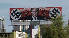 A California artist has taken on President Donald Trump in a billboard posted in Phoenix, Ariz., that's drawing a lot of attention. The billboard features Trump surrounded by mushroom clouds and Nazi swastikas in the shape of dollar signs. Photo: Facebook