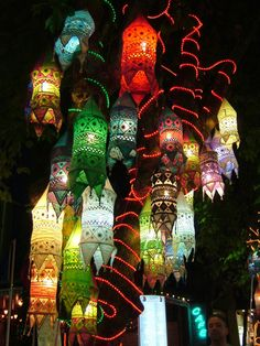 Colorful lights hanging in a tree in the old part of Kusadasi.