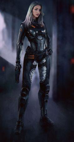 New sci fi concept art characters cyberpunk shadowrun ideas Super Hero Outfits, Super Hero Costumes, Sci Fi Characters, Girls Characters, Female Character Design, Character Art, Character Concept, Concept Art, Fantasy Character