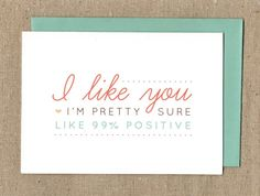 I Like You OneHundred Percent Valentine's Day Card by simplyhonest, $3.85