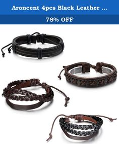 Aroncent 4pcs Black Leather Wristband,Friendship Gift,Braided Tribal Cuff Bracelet,Women Men Wrap Bangle. Aroncent 4pcs Black Leather Wristband,Friendship Gift,Braided Tribal Cuff Bracelet,Women Men Wrap Bangle .
