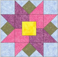 You're going to love Tulips All Around Quilt Block Pattern by designer FeverishQuilter. Star Quilt Blocks, Star Quilts, Block Quilt, Barn Quilt Patterns, Pattern Blocks, Quilting Projects, Quilting Designs, Flower Quilts, Square Quilt