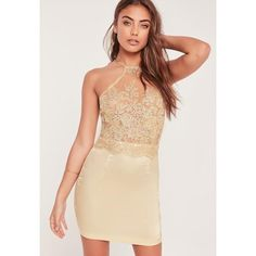 Missguided Organza Lace Bodycon Dress ($36) ❤ liked on Polyvore featuring dresses, gold, lace open back cocktail dress, missguided dress, beige dress, bodycon cocktail dress and bodycon dress