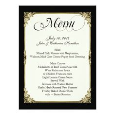 Elegant Black, Ivory, and Gold Custom Wedding Menu