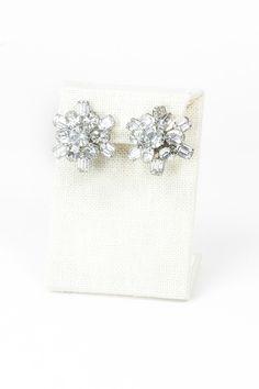 Something Old! 50's Coro Rhinestone Flower Earrings. Vintage Bridal Jewelry