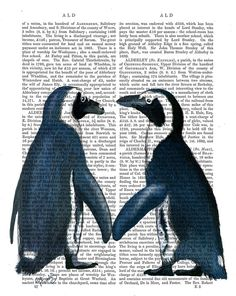 Penguins in Love Wall Art Art Giclee Print Acrylic Painting Illustration Penguin Valentines Gift wall art wall decor Wall Hanging