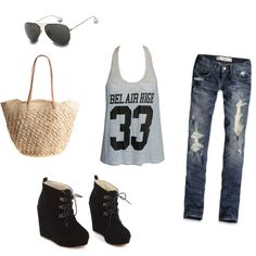 Wedges & Tank W/ Beachy Feel. I'd go w/a different patterned top n bag, but the jeans, glasses n shoes r cool.