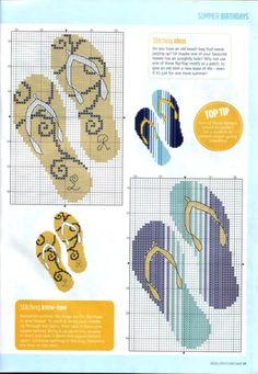 point de croix tongs de plage - cross stitch flip-flops
