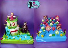 Masha and the bear cake Masha And The Bear, Bear Cakes, Pastel, Birthday Cake, Maya, Bears, Desserts, Food, Decorations