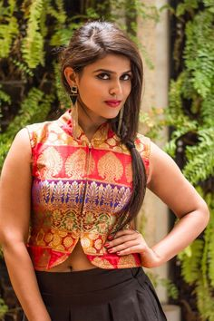 Multicolor brocade jacket style blouse #brocade #banaras #jacket #jacketblouse #blouse #houseofblouse