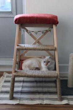 Pour réaliser cette bidouille vous aurez besoin de : Escabeau, 3 marches, hêtre BEKVÄM Plaid GURLI Ouate Corde Clous Et aussi un chat Sur cette photo, on voit aussi un petit pot de fleur. J'ai pensé plus tard ajouter un peu d'herbe à chat à ma bidouille ! Avant de monter le meuble, enroulez et collez la corde autour des pièces que vous souhaitez recouvrir. Pensez à bien serrer afin que quand les chats font leurs griffes cela ne se détache pas et pensez à laisser de l'espace pour…