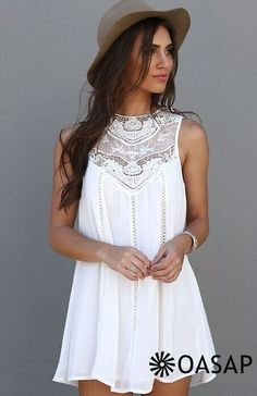The Lace Paneled A-line Tank Dress allows you to get more attention. This style is perfect for summer holiday. You deserve to have it from OASAP.com .