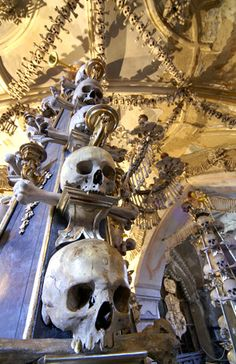 Sedlec Ossuary, Kutna Hora, Czech Republic - Located in the suburbs of Kutna Hora, one hour outside of Prague in the Czech Republic, the Sedlec Ossuary is also known as the Church of Bones. From the outside, it's an unassuming medieval Gothic church, but enter to find a unique, death-themed interior design with the skeletal remains of 40,000 to 70,000 humans.