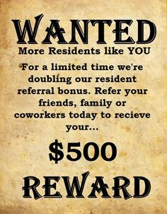 At Falconhead we love our residents, and to show our appreciation we're doubling your bonus. Refer your friends, family or coworkers today!