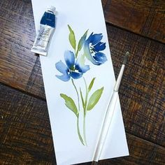 Some days you have time to sit and paint and others....well not so much. This was literally all I had time for but at least I painted something!!! Here's to more time tomorrow!! Happy hump day! ... ... #indigo #humpday #toobusy #wheresthetimegone #singlestem #watercolorflowers #watercolorart #showup #theresalwaystomorrow #paintsomething