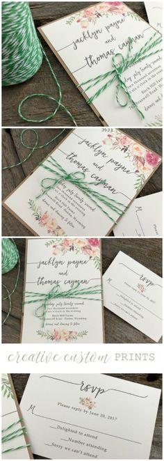 Floral Wedding Invitation Set,Green Wedding Invitation,Rustic Wedding Invitation, Calligraphy Wedding Invitation,Elegant Wedding Invitation