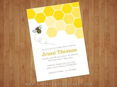 This cute baby shower invitation features a modern bee hive patterned background and a single bee buzzing around. Colors can be customized at no
