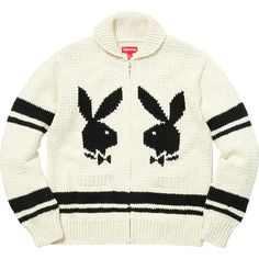 Supreme Supreme /Playboy Shawl Collar Full Zip Sweater ❤ liked on Polyvore featuring tops, sweaters, white top, full zipper sweaters, full zip sweater, shawl collar sweater and white sweater