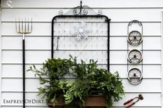 Want to make a grand entrance to your garden? Add a fabulous garden gate! Or turn one into garden art or trellis or whatever you like! These old metal gates look great hanging on a fence or outdoor wall.