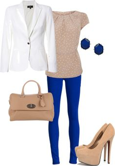 """Cobalt and neutrals"" by alana2187 on Polyvore"