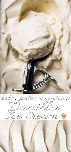 No-Churn Paleo, Low Carb & Keto Vanilla Ice Cream #keto #lowcarb #dairyfree #paleo #healthyrecipes #icecream