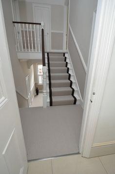 flatweave stair runners Bowloom flatweave herringbone carpet, fitted stair runners with plain binding tape Grey Stair Carpet, Carpet Stairs, Glass Stairs, Floating Stairs, Hallway Inspiration, Hallway Ideas, Stair Renovation, Narrow Hallway Decorating, Home Stairs Design