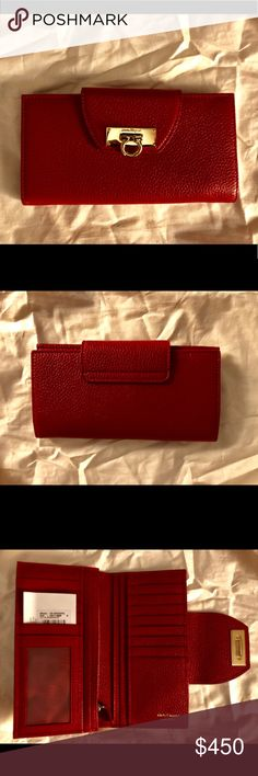 "FERRAGAMO RED GANCINO WALLET! NWT!! 100% AUTHENTIC! Ferragamo Red Wallet!   NWT and Dustbag Pushlock flap closure, lined wallet with interior zip pocket, six interior bill slots, 14 interior cards and interior ID window. Signature Gancini hardware on front flap.   Exquisite detail and workmanship, a beautiful, exclusive gift idea for the lady in your life (or yourself)'  W 7.5""  D 1""  H 3.5"" Salvatore Ferragamo Bags Wallets"