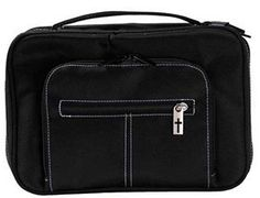 "[""The Extra-Large Black Organizer Bible Cover measures 10 1\/4\"" x 7 1\/4\"" x 2\"" and features two front zipper pockets, allowing for storage of writing utensils and small notes.""] $19.97"