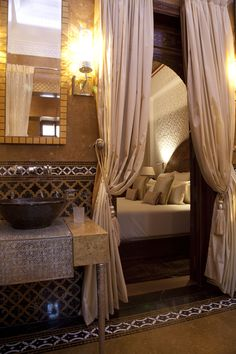 Two bed riad bathroom at the Royal Mansour Marrakech Morocco