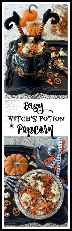 The witching hour is approaching, Halloween is 23 days away! Time to practice your potions and prepare to scare up some Halloween treats! This Witch's Potion Popcorn Mix is quick and easy to … Halloween Popcorn, Halloween Baking, Halloween Cupcakes, Halloween Food For Party, Holidays Halloween, Halloween Treats, Halloween Foods, Witch Party, Halloween Desserts