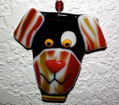 Ornament Floppy Ear Dog Fused Glass by 2GlassyBroads on Etsy, $8.00