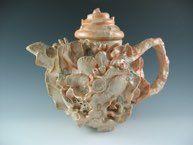 TeaPot<br />Wheel thown body and lid, multiple handmade porcelain shells added, with barnacle glaze and shino glaze. Abalone Shell, Glaze, Tea Pots, Shells, Porcelain, Pottery, Tableware, Handmade, Nest