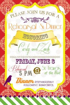 Rehearsal Dinner Invitation - bright, fun and whimsical