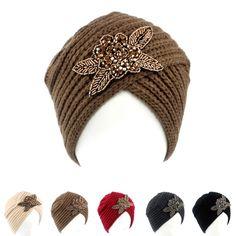 Jóia frisada flor Headband Crochet Headwrap Gorro de Malha das mulheres Mornas do Inverno Turbante MAQUIAGEM KH-03