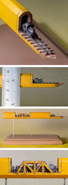 "A Carved Graphite Train on Railroad-Tracks Emerges from Inside a Carpenter's Pencil ""Tunnel"" -- WOW, just when I thought I'd seen everything the internets have to offer. Pencil Carving, Wow Art, Pencil Art, Oeuvre D'art, Amazing Art, Awesome, Creative Art, Sculpture Art, Carpenter"