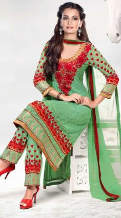 Dia Mirza In Lime Green Salwar Kameez 2H900182