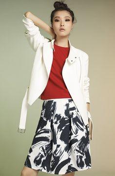 WHITE. MOTO JACKET + paprika top + floral/graphic skirt