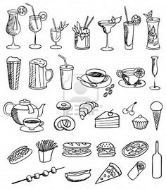 Illustration about Food and drink vector set on white. Illustration of drawing, cook, cafe - 20309692 Doodle Icon, Doodle Art, Chalkboard Doodles, Cooking Icon, Doodle Characters, Calligraphy Doodles, Kawaii Doodles, Bullet Journal Art, Food Drawing