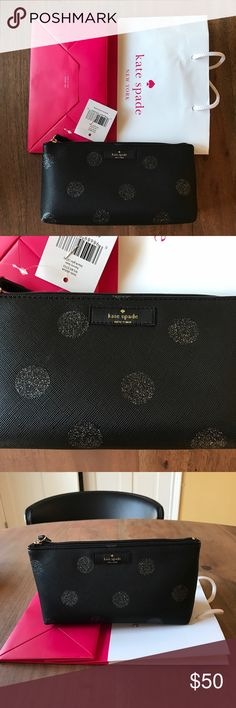 """NWT Kate Spade Little Shiloh Make Up Bag Brand new never used with tag. Little Shiloh Haven Lane Make Up Bag. Color is black/gltr (474). Very cute black bag with polka dots! Measures 7""""L x 4""""H x 2.5""""D. kate spade Bags"""