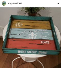 Diy Painting, Painting On Wood, Wood Crafts, Diy And Crafts, Diy Home Accessories, Wood Tray, Gisele, Diy Projects To Try, Chalk Paint