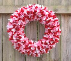 Valentine's Day Fabric Rag Wreath  Pink Red and White by FairyMojo, $45.00