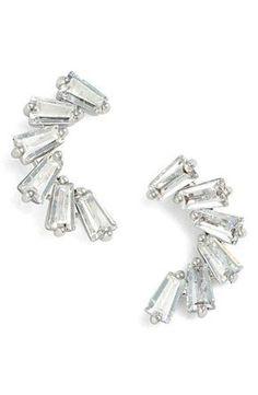 CZ by Kenneth Jay Lane Curved Baguette Cubic Zirconia Stud Earrings #jewelrydesigncubiczirconia Diamond Jewelry, Silver Jewelry, Cz Jewellery, Silver Earrings, Luxury Jewelry, Fashion Earrings, Diamond Earrings, Tourmaline Earrings, Jewelery
