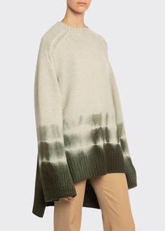 Boon The Shop Tie-Dye High-Low Chunky Cashmere Sweater Shibori, Knit Fashion, Fashion Outfits, Sweater Design, Sweater Outfits, Cashmere Sweaters, Tie Dye, Style Inspiration, Pullover