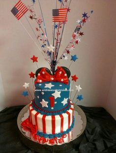 of july red white and blue minnie mouse tiered birthday cake Blue Birthday Cakes, Blue Birthday Parties, July Birthday, Girl First Birthday, Birthday Ideas, Blue Party, Mickey And Minnie Cake, Minnie Mouse Cake, Mickey Party