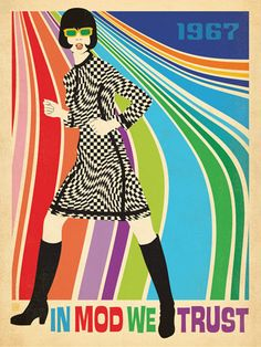 Anderson Design Group Premium Thick-Wrap Canvas Wall Art Print entitled In Mod We Trust - Retro Fashion Poster Mod Fashion, 1960s Fashion, Fashion East, Sporty Fashion, Latest Fashion, Fashion Women, Vintage Ads, Vintage Posters, Vintage Party