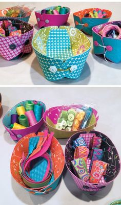 Sewing Pattern - Fabric Storage Baskets that can lie flat when not in use. Sewing Tutorials, Sewing Patterns, Fabric Crafts, Sewing Crafts, Fabric Boxes, Fabric Storage, Small Sewing Projects, Sewing Baskets, Storage Baskets