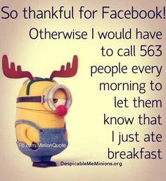 Despicable-me-minions. So thankful Minion Jokes, My Minion, Minions Quotes, Funny Minion, Minion Sayings, Minion Stuff, For Facebook, Facebook Humor, Despicable Me