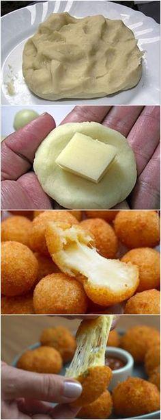 NÃO EXISTE FESTA SEM ESSAS BOLINHAS,RECEITA SUPER FÁCIL FICA MUITO CROCANTE!! VEJA AQUI>>>Em uma panela, adicione o leite, a farinha de trigo, a margarina, a gema e o sal Leve ao fogo e mexa com um garfo até que a massa solte da panela, depois deixe esfriar #MASSAS#BOLINHADEQUEIJO#