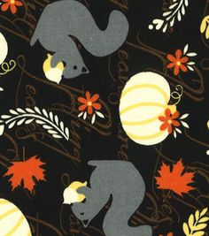 Made in the USA Harvest Fabric - Squirrels & Pumpkins
